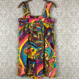 MILLY New York Bright Multi Color 70's Style Dress
